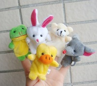 Free Shipping 10 pcs/lot Baby Plush Toy/Finger Puppets/Tell Story Props(10 animal group)Animal Doll /Kids Toys/Children Gift/TOB
