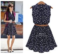 summer  2014 new women shirts dress Cat footprints pattern  Show thin  Shirt dress  with Belt