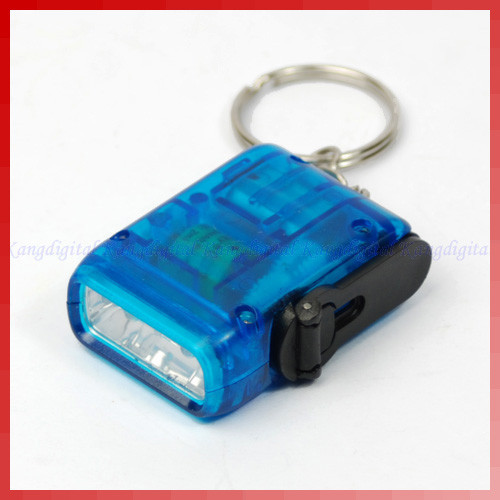 Free Shipping Mini Hand Crank Power Flashlight Torch 2 LED Light Blue(China (Mainland))