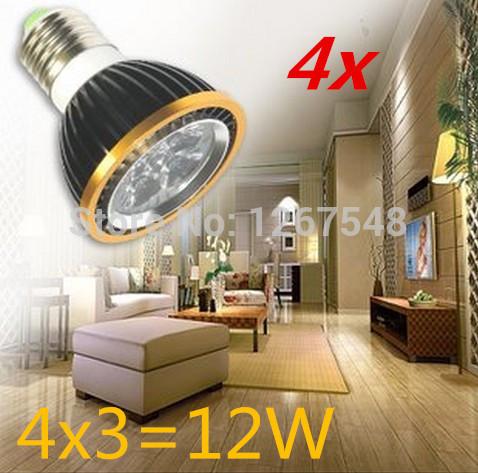4pcs Par20 E27 Dimmable 4X3W 12W Spotlight Led Light Led Bulbs 85V-265V Energy Saving Free shipping(China (Mainland))