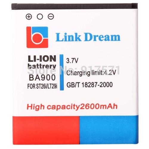 Ссылка мечта высокое качество 2600 мАч аккумулятор для Sony ST26i / Xperia J LT29i / Xperia T / TX / GX / LT30 ( BA900 ) sony xperia j черный и забрать в золотом вавилоне
