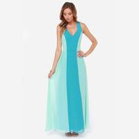 Autumn Dress 2015 New Double Layer V-Neck Floor-Length Party Dresses Long Maxi Dress Vestidos Casual Dress Women Vestido