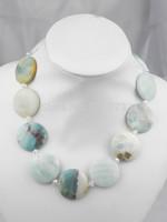"19"" 30mm natural large Amazon stone shiny crystal necklace"