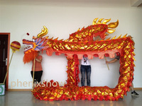 7 JOINT red golden  shinning 14 meter brand new dragon dance mascot costume china special culture holiday party