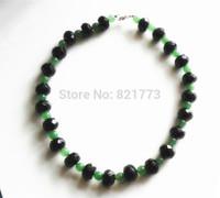 large black facet drum onyx green aventurine necklace