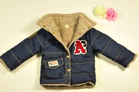 2014 Spring and Autumn boy's thickening fleece clothing outerwear,children garment jeans style coat,M-XXL,free shipping