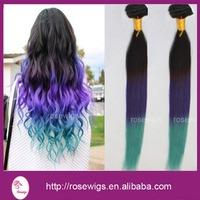 Ombre Hair Extensions 6A Brazilian Virgin Hair Straight Hair Products Three Tone 3Bundles Ombre black /purple/green Hair