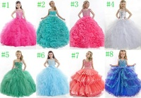 2014Girl Kids Pageant Dresses Bridesmaid Party Princess Gown Formal Dress Custom