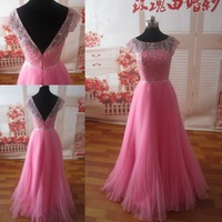 Elegant Peach Real Picture Beads Prom Dress  AL02