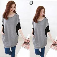 Hot sale!Large size mixed colors, circular pocket dress, loose long T-shirt, fat MM, pregnant women tops    MT003