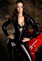 M~2XL Sexy Motorcycle Costume Woman Zipper One Piece Teddy Jumpsuits New Faux Leather Gilt Pole Dancer Rompers Cat Outfits Black
