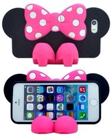 For iPhone 5 5s Case Bowknot 3D Cartoon Mickey & Minnie mouse TPU Case Stand Cover for iPhone 5/5s,DHL Free shipping