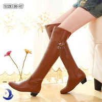 Factory Outlet over the knee high boots women motorcycle boots high leg riding boots low heel leather shoes big size 30-47 M54