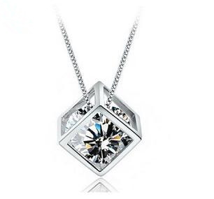 Free shipping 2014 new arrival Love Cube hot sell 925 sterling silver ladies`fashion zircon crystal pendant necklaces jewelry(China (Mainland))