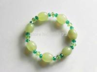 green drum agate shiny faceted crystl elastic bracelet
