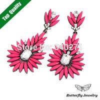 New 2014 Stud Earrings Fashion Design Shourouk Earrings Women Jewelry Multicolor Resin Crystal Acrylic