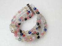 five-strand 6mm facet mix-colored water melon crystal bracelet