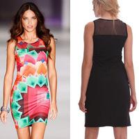 New 2014 Women Sexy Colorful Geometric Plaids Dress Evening Party Dresses Gauze Splice Club Dress Wholesale Drop Shipping M3-15