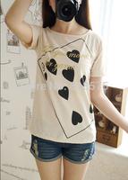 2014 summer new arrival women's short sleeve Poker spade Nine print t-shirt tops for women clothing,slim all-match tshirt sale