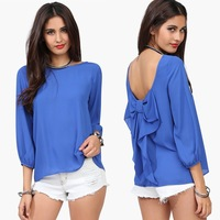 Europe New Station Women Summer Chiffon Shirts Backless Loose Blouse Tops 0113