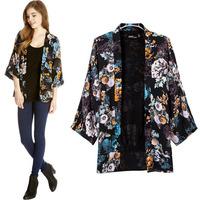 2014 New Outerwear & Coat Seven European Classical Printed Women's Kimono Sleeve coat girl jacket lady clothing