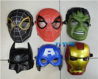 free shipping 6pcs/lot The avengers alliance Hulk Captain America Batman Spiderman Ironman Party Mask Halloween cosplay Boy Gift
