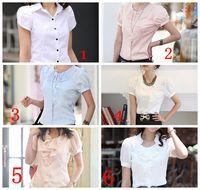 6Types Chiffon or Cotton Female Tops Short-sleeve blouse shirt summer women's sweat  leisure short sleeve blouse shirt
