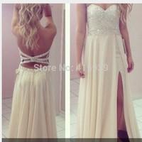 2014 New Design Sexy Sweetheart Side Slit Long Chiffon Backess Prom Dress Women Gown Free Shipping WH380