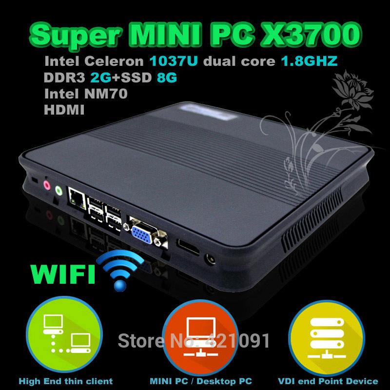 2G RAM 8GB SSD Mini PC X3700 WIFI Thin clients Intel 1037U dualcore 1.8GHz HD Graphics super Mini Desktop Computer(China (Mainland))