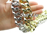 1M Acrylic Chain Links, Open Link Plastic Chain C4- Loop Size: 22x22mm-the silver one little smaller than the golden one