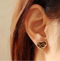 free shipping E120 fashion accessories vintage gem love leopard print female stud earring