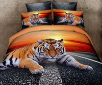 new arrival tiger animal print coverlet girls bedding set luxury home comforter cover cotton full queen size duvet covers 4pc