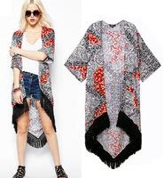 Top design 2014 New Outerwear & Coat New national wind Sue hem dovetailed long cardigan coat  girl jacket lady clothing