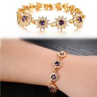 Fashion Elegant Gold Tone Jewelry Purple CZ Diamond with Diamante Edging Heart Shape Charm Bracelets for Women Free Shipping