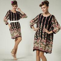 Wholesale New fashion loose bohemian beach plus size 3xl 4xl women summer flower dress 2015 mini chiffon casual print dress