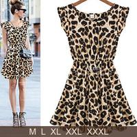 Women Casual Ruffles Sleeve One Piece  Sleeveless Dress Pleated Leopard Dress M,L,XL,XXL,XXXL
