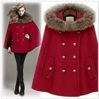 Women's fur collar woolen outerwear hooded cloak cape double breasted loose wool overcoat