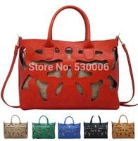 6 Colors 2014 Summer New Pu Leather Fashion Women Hollow Out Design Handbags,Lady's Messenger Bags European Style Shoulder Bag
