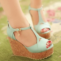 2014 summer Wedges heel 11 cm  women pumps  sandals  charm black , white , blue  pink,PU  leather US Big size 4-10
