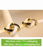 Super deal. E2081 black white knot love sexy shiny Girl women woman Lady earring Antique Bronze Bohemian Vintage Stud Earring