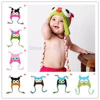 New Fashion Cute Baby Boy Girl Toddler Owls Knit Hat Crochet Hat Beanie infant owl Cap newborn gift  best selling