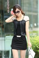 Free Shipping Women's Fashion Brand OL Short Sleeve Chiffon Dress  M, L, XL, 2014 Hot Sales