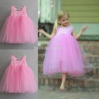 Lovely Sleeveless Long Tulle A Line Flower Girl Dress 2014 Custom Made Vestido Tutu Girls Flor Pink