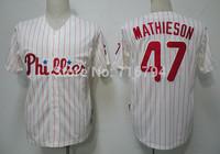 Free Shipping Men's Baseball Jerseys Philadelphia Phillies #47 mathieson Stripe Jersey China Cheap New 2014,Embroidery Logos