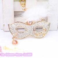 2014 New mask of Keychain  Crystal key chain tassel masquerade  Female personality bag pendant male Car Keychain