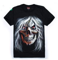 High quality 2014 new white Haired evil skull men women T-shirt heavy metal rock punk Glow t-shirts 6210
