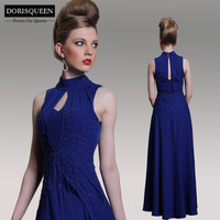 Dorisqueen 31042 High Collar Keyhole Royal Blue Empire Floor Length Evening Dress 2014 Embroidery Formal Celebrity Prom Gown
