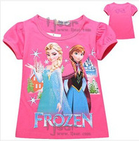 Children's T-shirt, children's clothing wholesale,  cartoon Ice and snow country short sleeve T-shirt, xs165white