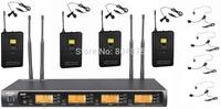 UHF 4 Headset 4 Lavalier Headworn Wireless Microphone System 4x100 Channel adjust
