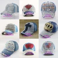 High Quality Luxury Diamond rhinestone butterfly women denim jeans baseball cap new fashion female hip hop brand snapback hats